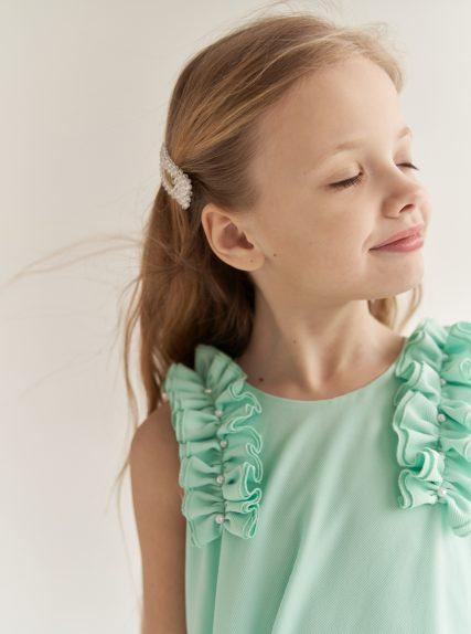 Платье с рюшами мятное