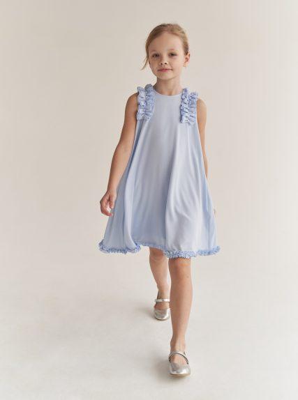 Платье с рюшами голубое