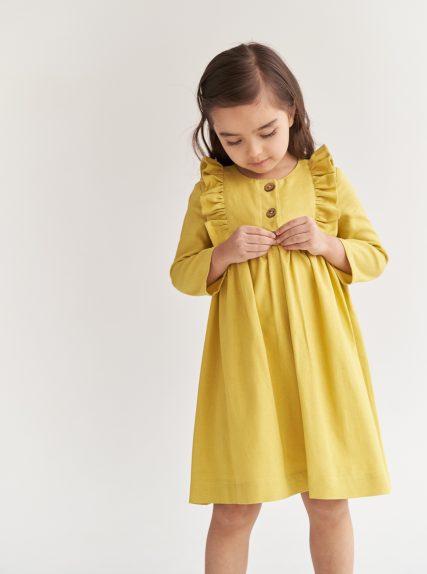 Платье из льна желтое