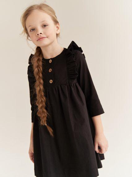 Платье из льна черное