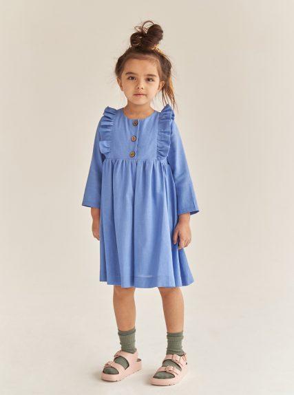 Платье из льна синее