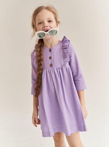 Платье из льна сиреневое