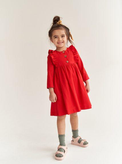 Платье из льна красный
