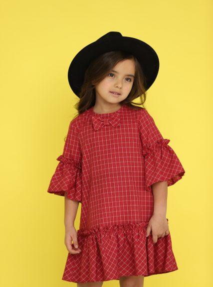 Платье в клеточку с бантиком красное