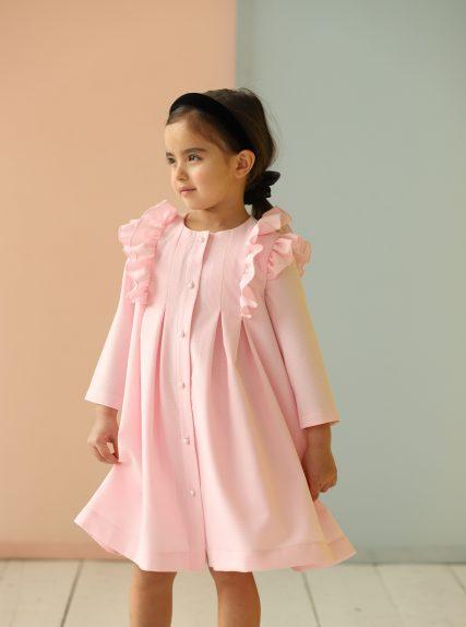 Платье из вафельной ткани розовое