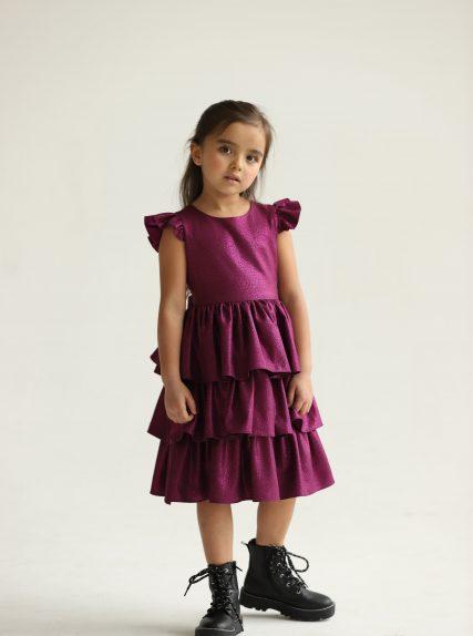 Платье из блестящей ткани фиолетовое