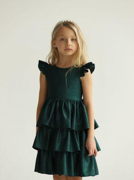 Платье из блестящей ткани зелёное