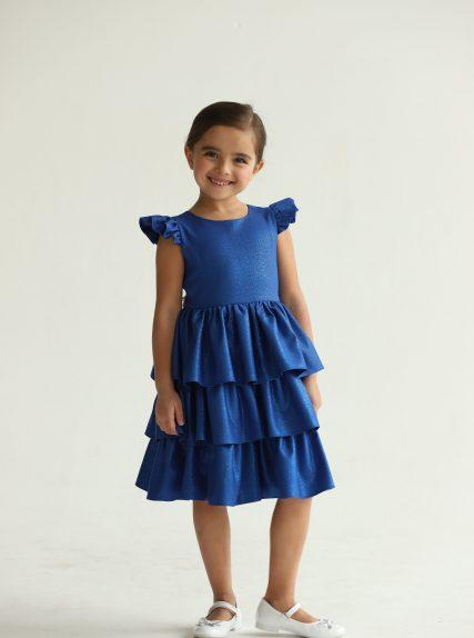 Платье из блестящей ткани синее
