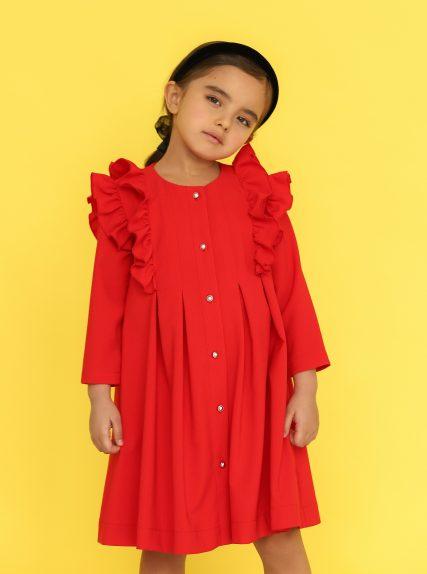 Платье из вафельной ткани красное
