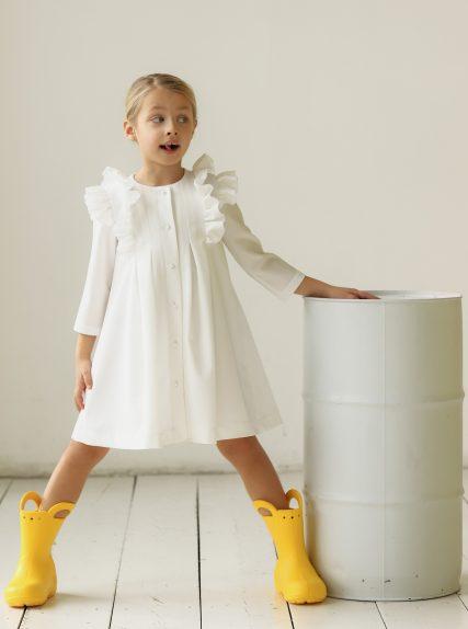 Платье из вафельной ткани молочное