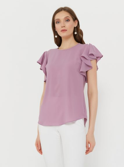 Блузка с рукавом волан сиреневая