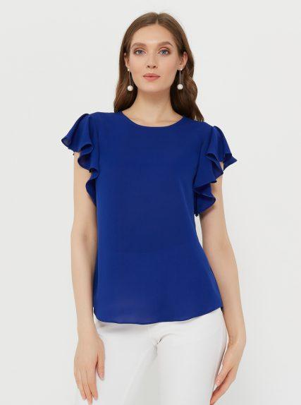 Блузка с рукавом волан синяя