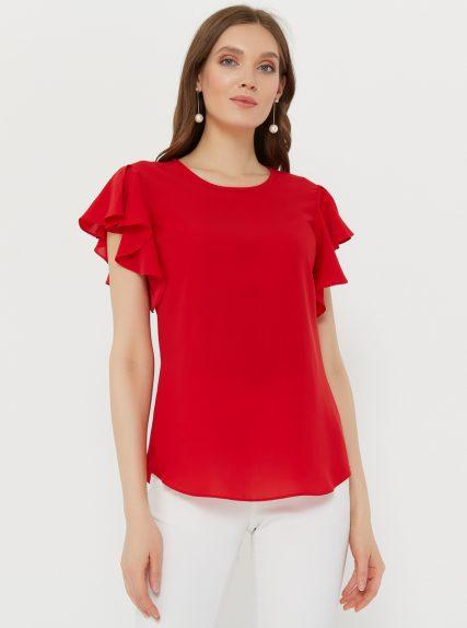 Блузка с рукавом волан красная