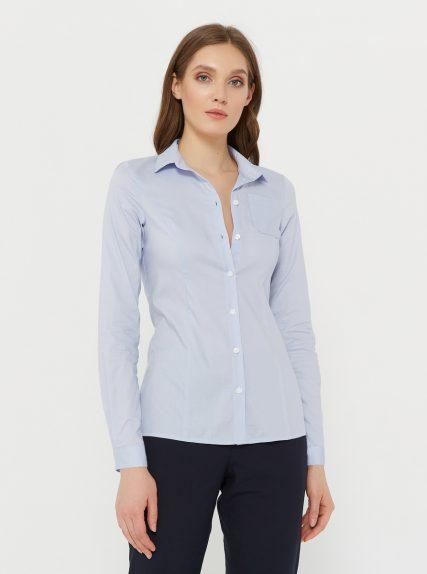 Рубашка классическая приталенная голубая