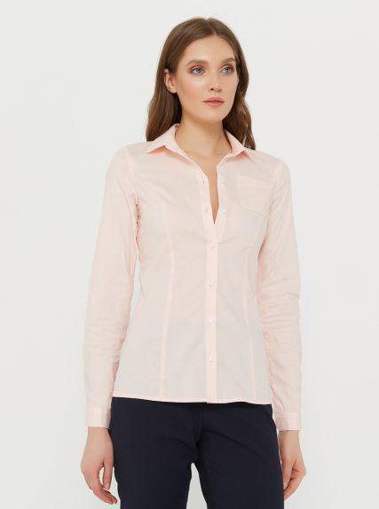 Рубашка классическая приталенная персиковая