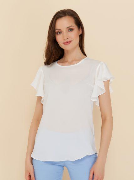 Блузка с рукавом волан белая