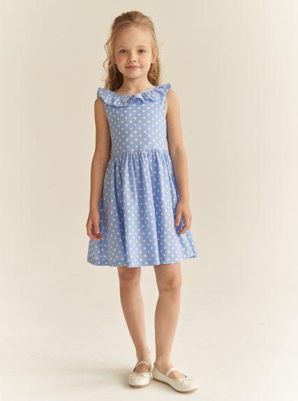 Платье в горошек с завязочками голубое