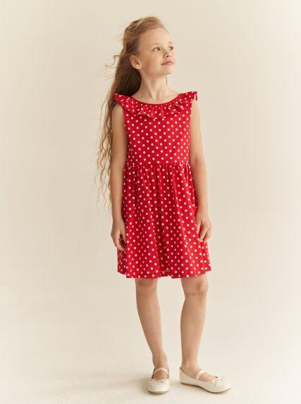 Платье в горошек с завязочками красное