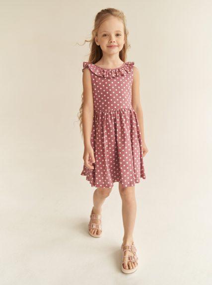 Платье в горошек с завязочками розовое