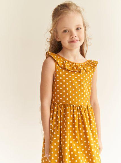 Платье в горошек с завязочками желтое